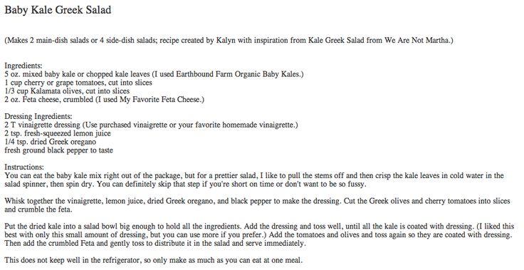 Baby Kale Greek Salad | Healthy Life | Pinterest