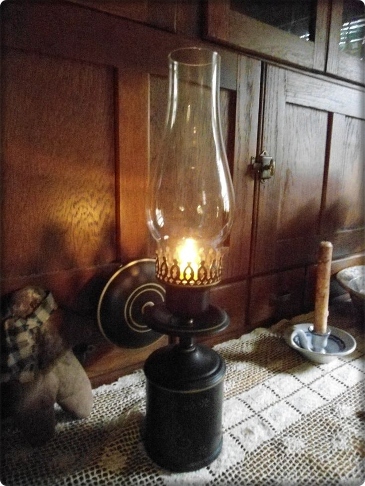 Large Candle Holder Wall Mount - Hurricane Globe - Prim Primitive Oil Lamp Look