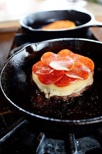 Pepperoni Pizza Burgers | Recipe