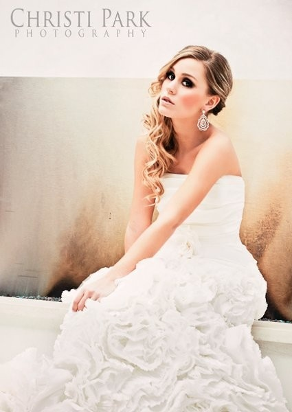 Curly Long Bridal Hair To One Side