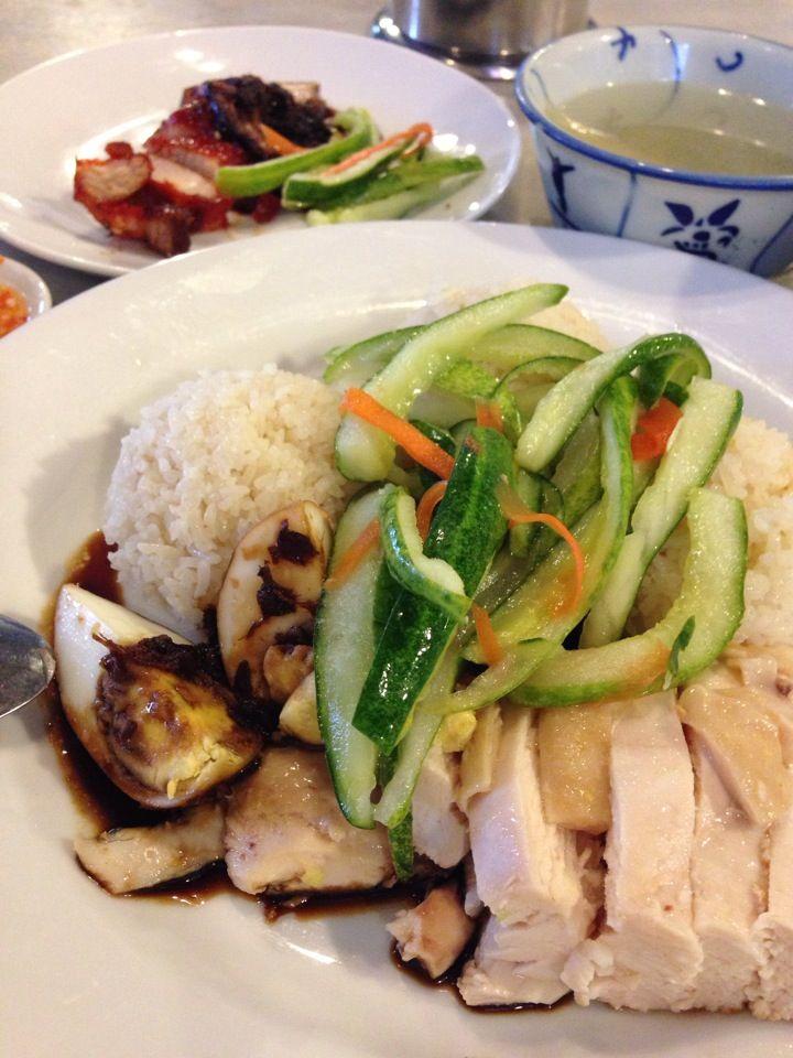 Great Hainanese chicken rice and loh bak rice.