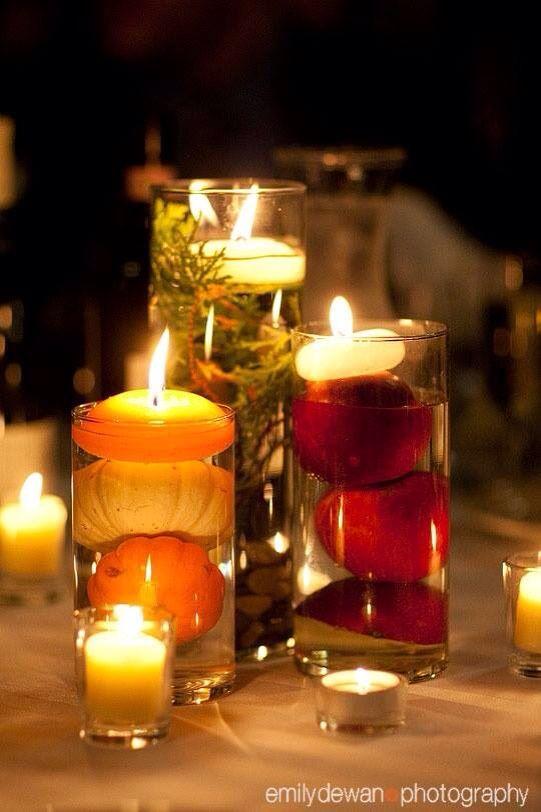 Fall candles centerpieces pinterest