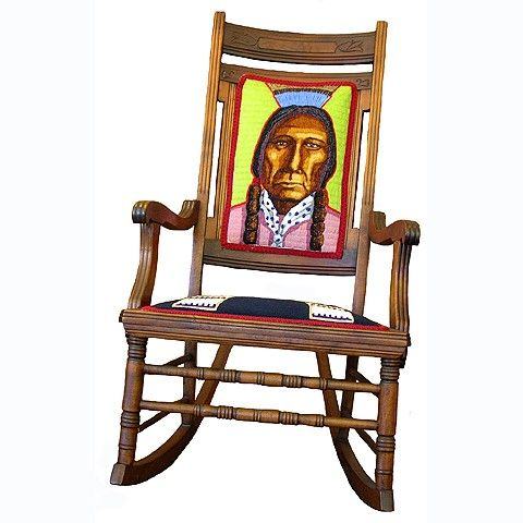 Beaded rocking chair with Native American warrior image by artist Gwen ...