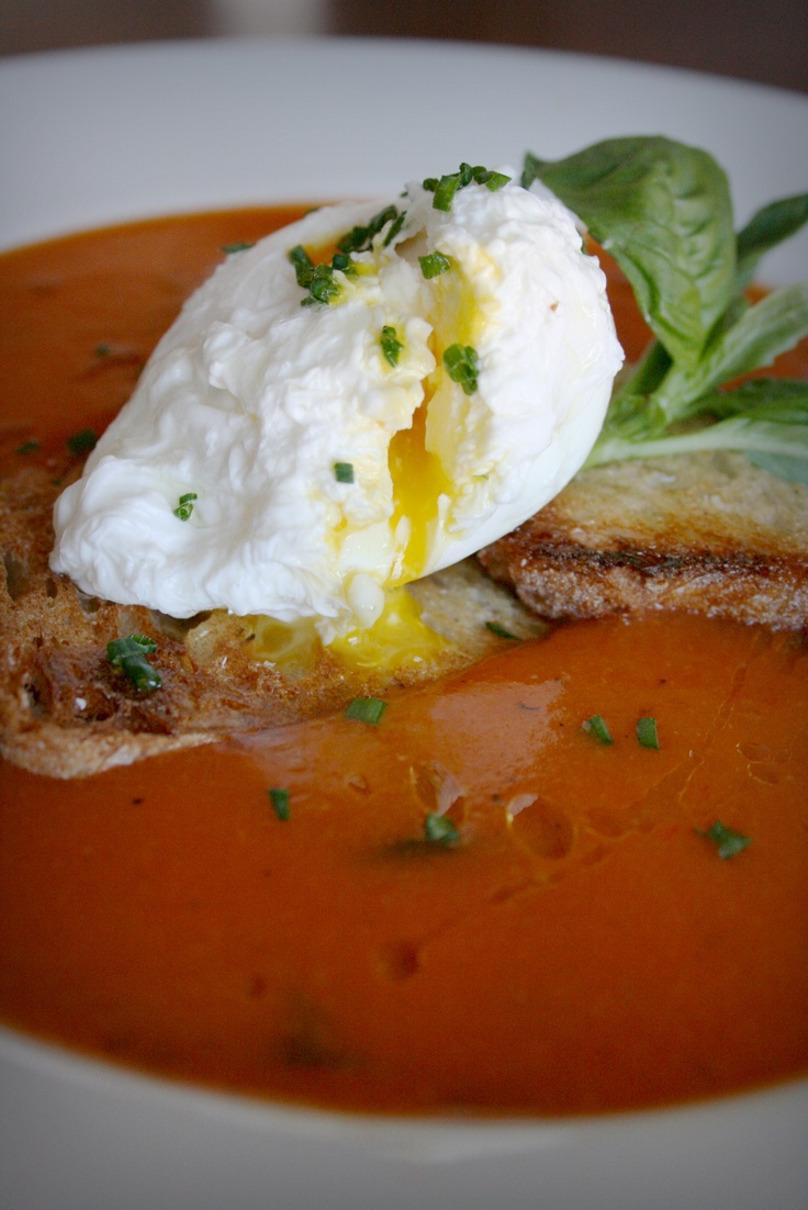 Tomato-basil soup with poached egg | eats | Pinterest