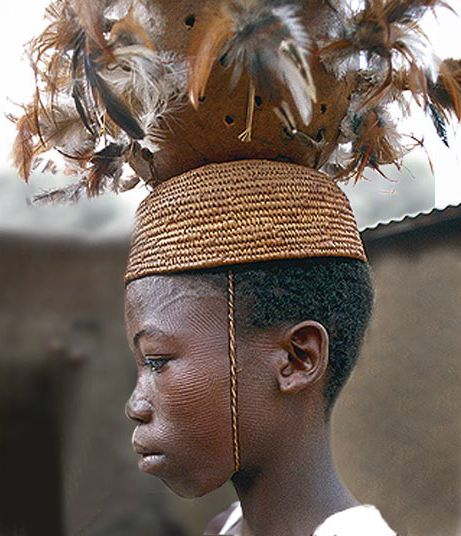 Africa | A Bétamarribé boy with traditional facial scarification.  Atakora Mountain region, Benin | ©Lars Krutak