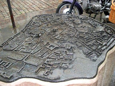 Several Braille maps of the city are scattered around town (Munster, Germany) to help the visually impaired find their way. Ironically, these also serve as a good visual reference for the sighted.