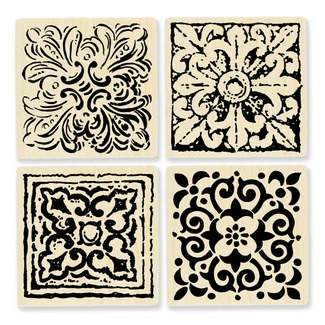 "Tiled Quad Cube--love that these come in a set of 4. Each is a 2 1/4"" square."