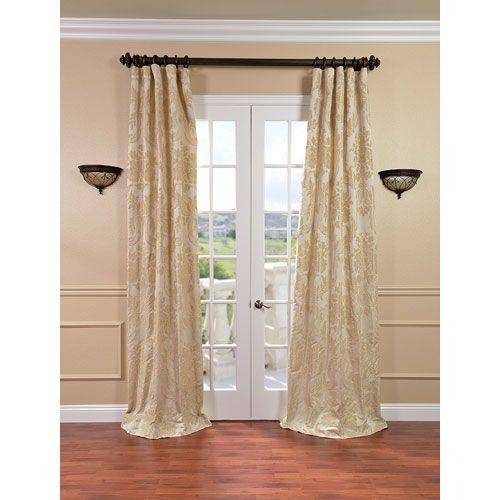 Magdelena Champagne Faux Silk Jacquard Single Panel Curtain, 50 X 108 ...