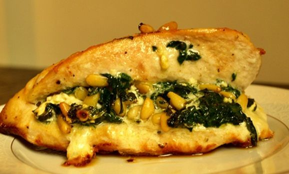 Chicken Breast Stuffed with Spinach, Feta, and Pine Nuts | Recipe