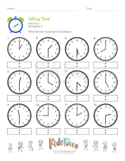 Telling Time Half Hour Worksheet # 2 #worksheets #homeschooling #math ...
