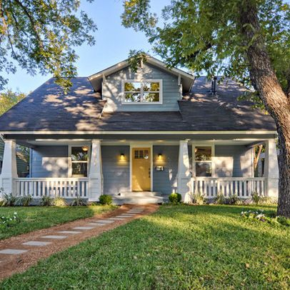 Blue Gray House Yellow Door For The Home Pinterest