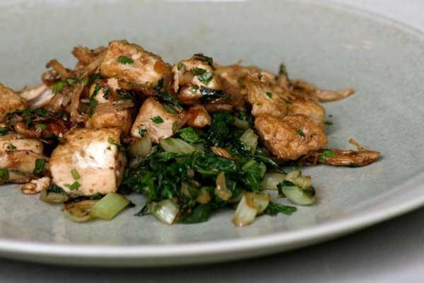 Vegetarian: Caramelized Tofu With Sautéed Greens