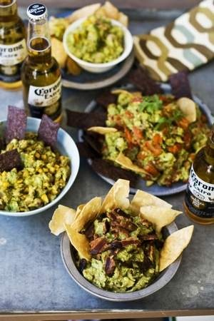 From left: Sweet heat bacon, chipotle corn, roasted fresh salsa and ...