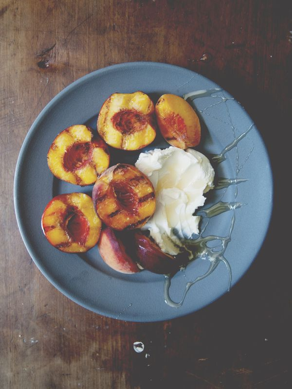 grilled stone fruit with mascarpone and honey | the kitchy kitchen