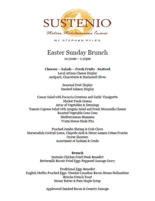 Sustenio 39 s easter sunday brunch menu ilan hotel resort for Easter brunch restaurant menus
