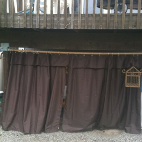 Simple Under deck with shower curtains