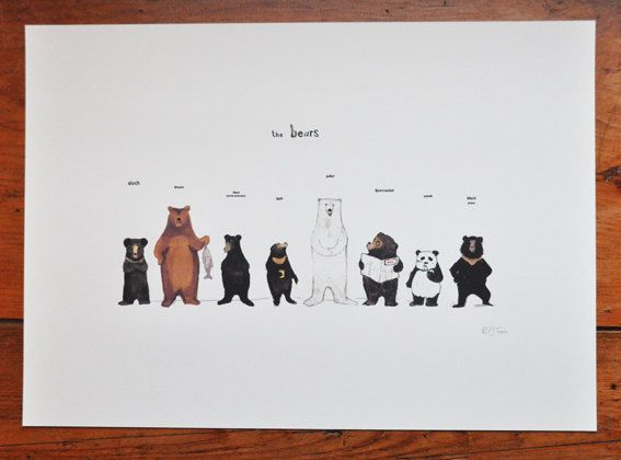 Bear family- could be a cool illustration for adoption. They're all bears, even if they look different!