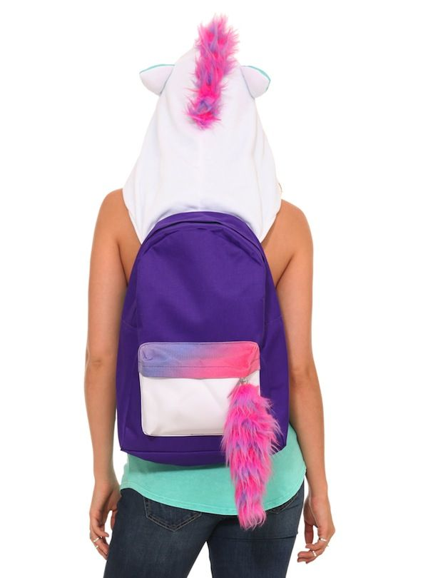 Unicorn Hooded Backpack - It might look like an ordinary packpack with a fuzzy pink and purple tail, but it's a unicorn in disguise! Just flip up the little white hood and you've got a matching pink and purple mane and a sparkly silver horn. You're a unicorn!