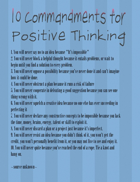 10 Commandments For Positive Thinking Positivethoughts