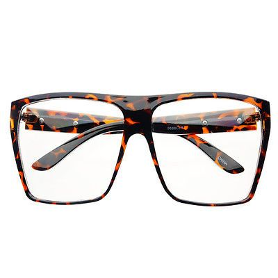 X Large Glasses Frames : Extra Large Retro Clear Lens Square Flat Top Eye Glasses ...