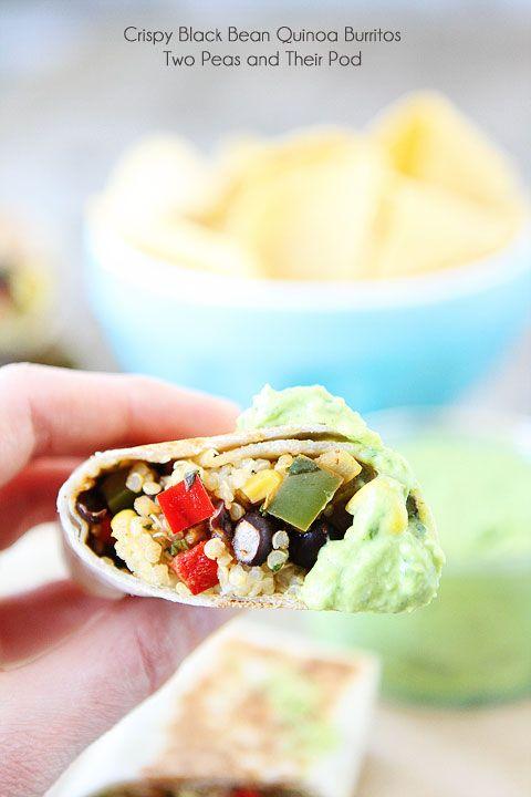 Easy Crispy Black Bean Quinoa Burritos with Avocado Dipping Sauce on ...