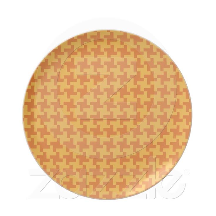 melamine dinner plate orange dogstooth check