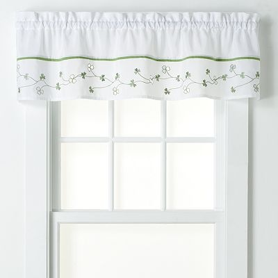 white and green, clover leaves valance for our kitchen.