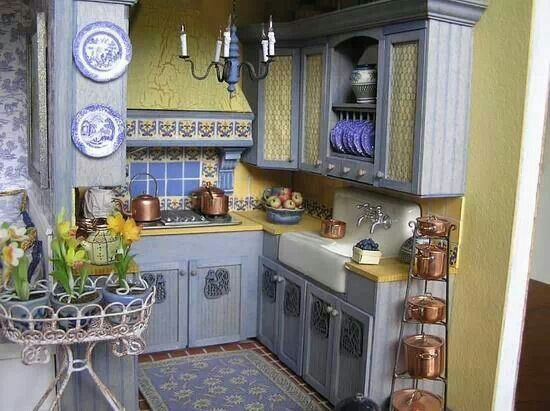 Blue & Yellow Kitchen  Kitchens  Pinterest