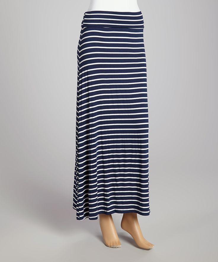navy white stripe maxi skirt fashion