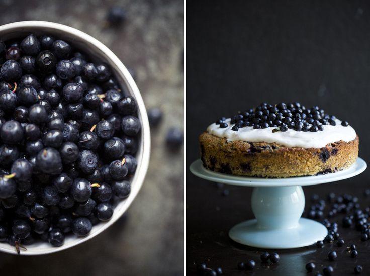 Blueberry, lemon and almond cake via green kitchen stories