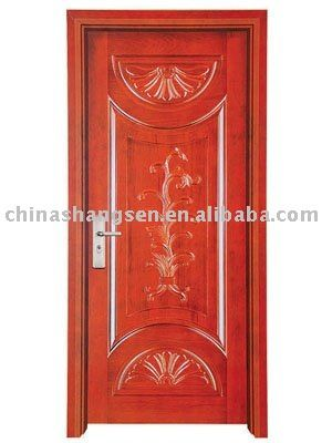 solid wooden door surface 6 layer paint ,solid wood skin .HDFinside