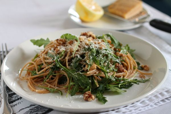 Whole Wheat Pasta with Arugula, Lemon, and Walnuts | Recipe