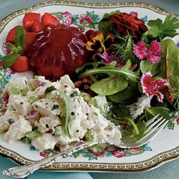 Chicken salad with field greens and cranberry aspic