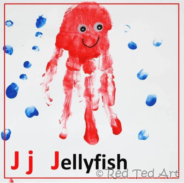 Handprint alphabet j for jellyfish for J and j fish