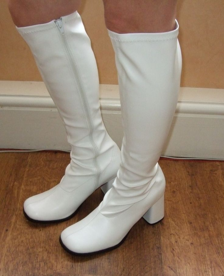Beautiful White GoGo 60s Hippie Disco Cheer Costume Boots Girls Child Size 12 13