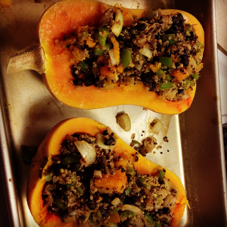 Southwestern stuffed butternut squash with quinoa. Topped with avocado ...