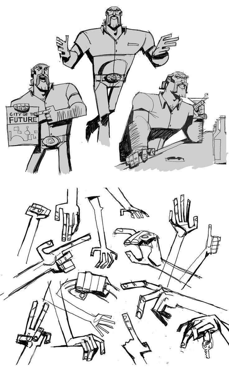 Dibujar manos estilizadas, retro
