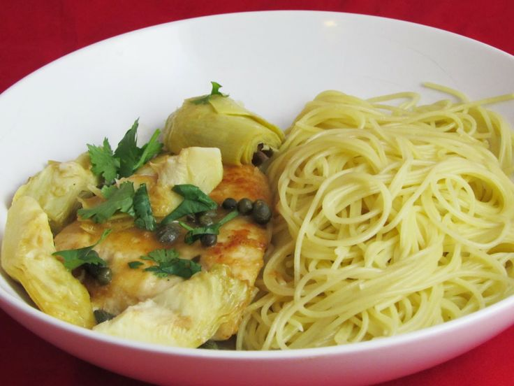 Italian Chicken with Artichokes and Angel Hair Pasta