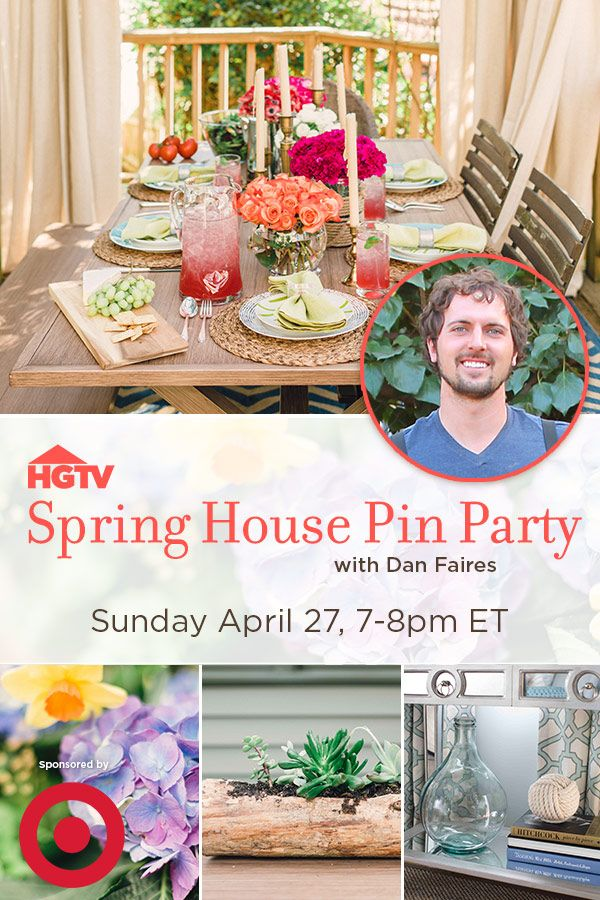 Bring home fresh ideas for spring.  Join HGTV and designer @Daniel Grady Faires Sunday April 27 from 7-8pmET, as we share the season's hottest trends for your home, garden, and entertaining space.