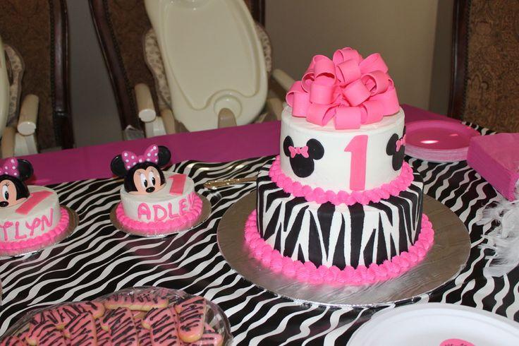 1st birthday minnie mouse cake  Zebra Minnie Mouse First Birthday ...