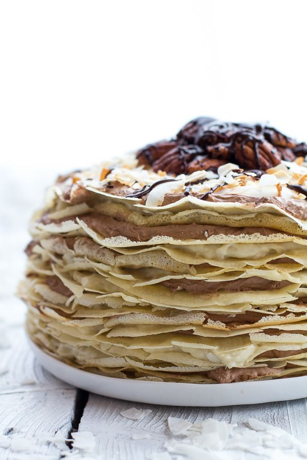 Toasted Coconut Cream Rum and Chocolate Mousse Crepe Cake recipe from ...