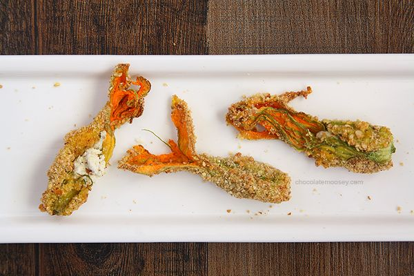 Goat Cheese-Stuffed Baked Squash Blossoms I added some sauteed sweet ...