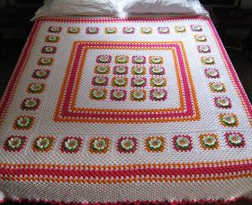 Love Crochet: Queen size flower blanket Doe-het-zelf en knutsels di ...