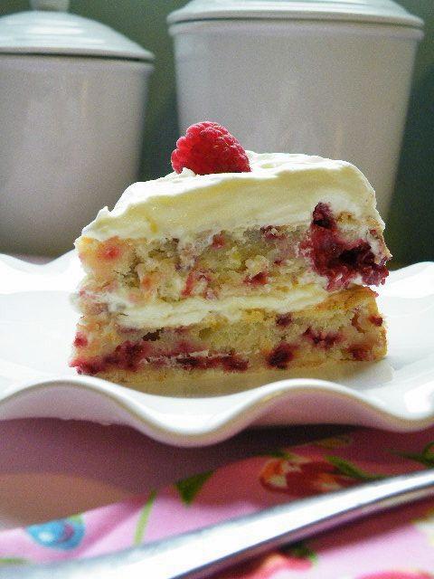 Lemon Raspberry Cake with Lemon Curd Whip Cream