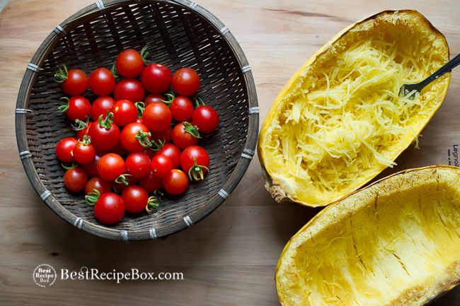 Baked Spaghetti Squash with Tomatoes and Parmesan Cheese