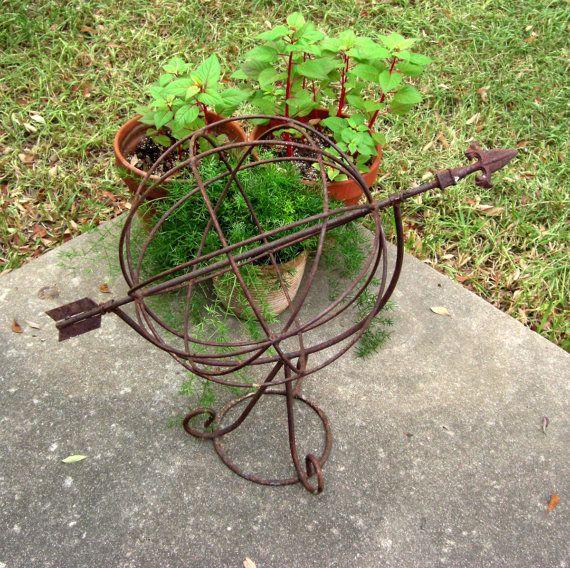Wrought iron garden yard art sculpture speared globe from succe - Wrought iron garden sculptures ...