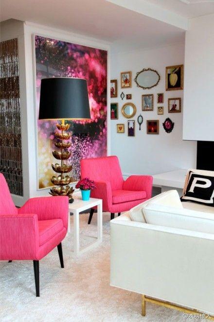 cute living room white vs hot pink in love interior design