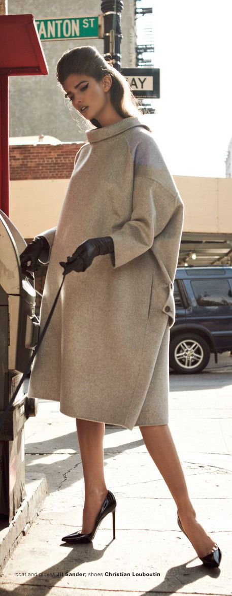 Coat by Jil Sander, Shoes by Christian Louboutin