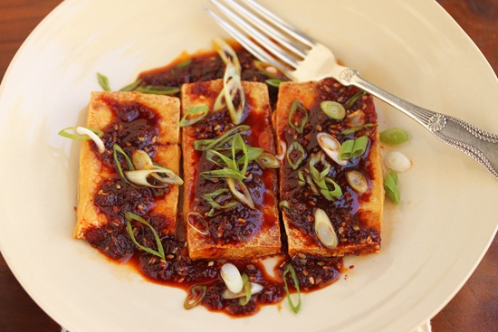 Warm tofu with spicy soy sauce | Dinner | Pinterest