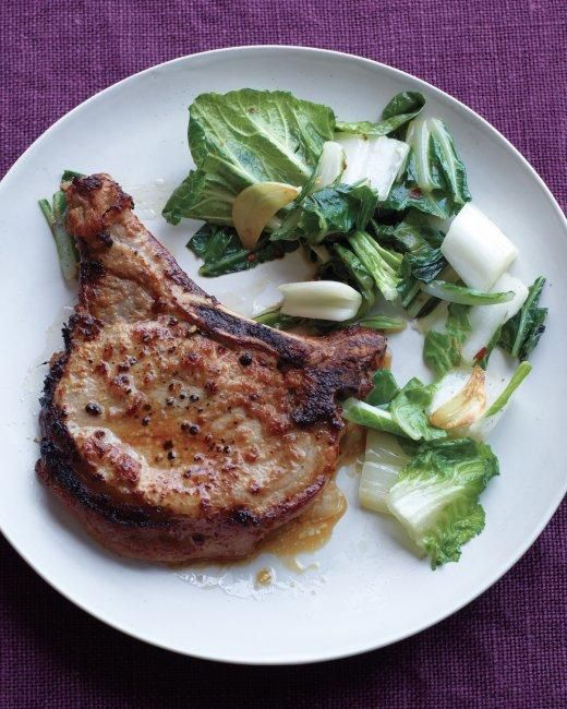 Soy-Ginger Pork Chops with Stir-Fried Bok Choy Recipe in under 30 ...